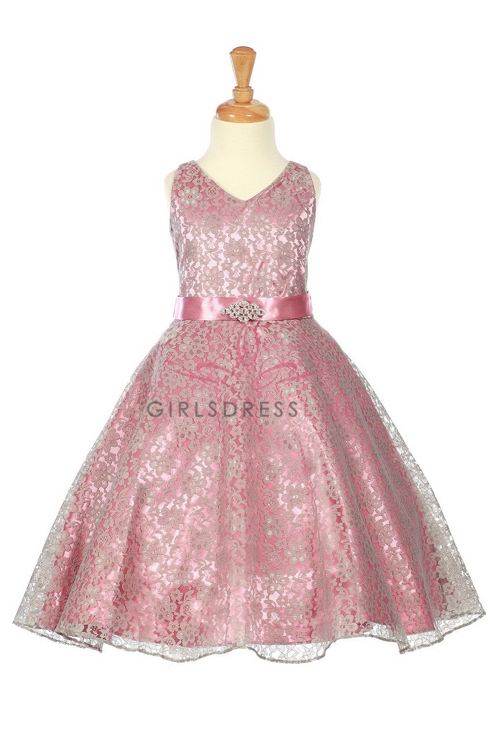 Dusty Rose Lace Floral Pattern Flower Girl Dress With Removable
