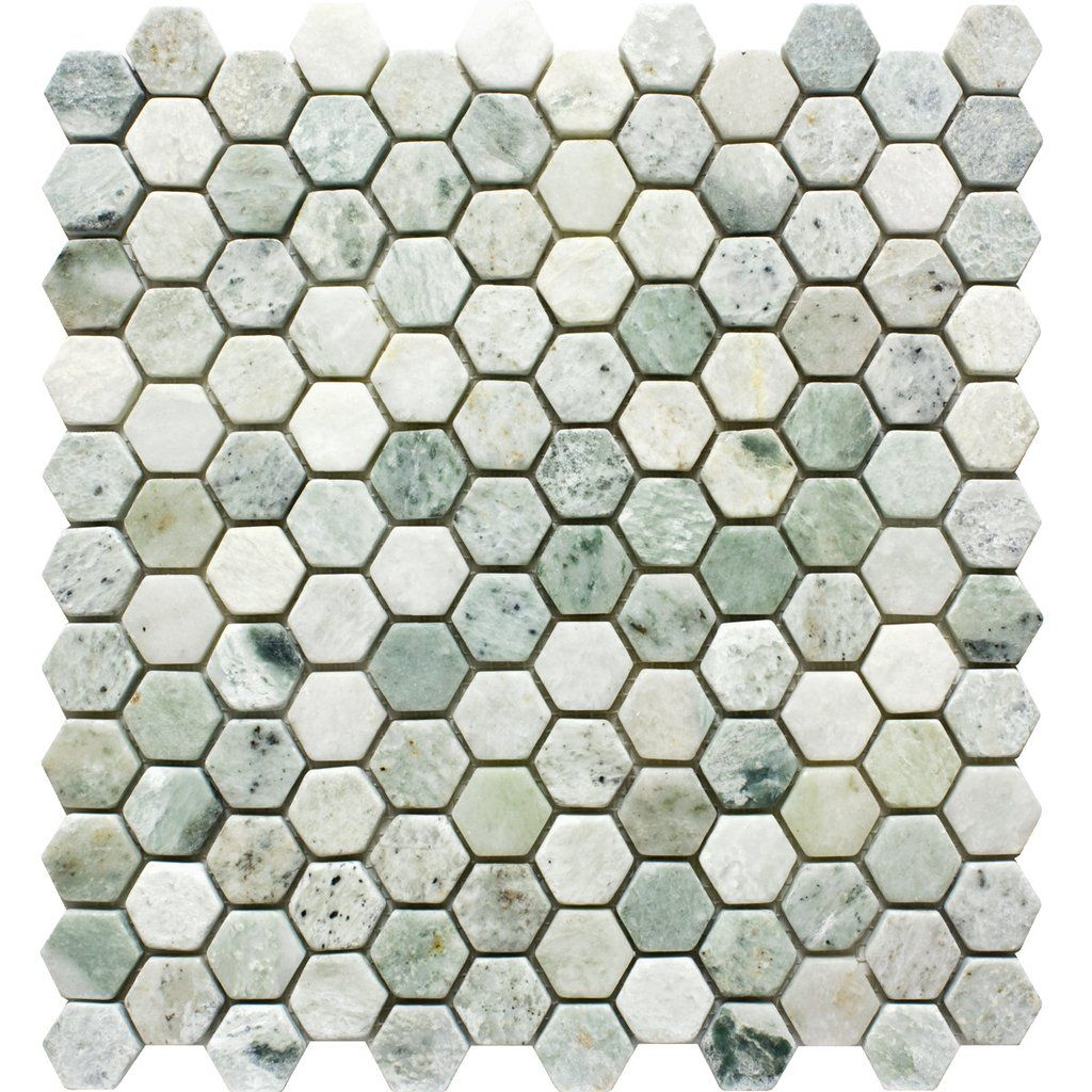 1 Hexagon Tumbled Ming Green Mosaic Tile Finish Tumbled Colors Variations Of Green Sheet Size Green Mosaic Tiles Shower Floor Tile Fireplace Tile Surround