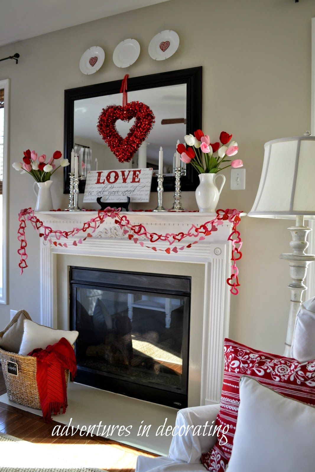 Adventures In Decorating Our 2015 Fall Kitchen: Adventures In Decorating: 2015 Valentine Mantel/Heart And