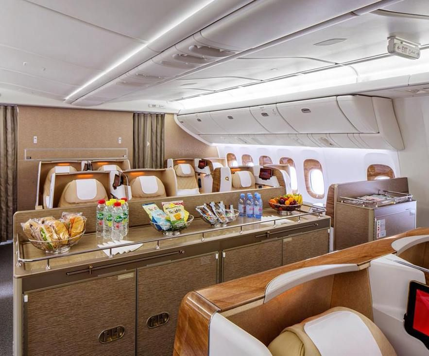 emirates revealed its new business class cabin area, a