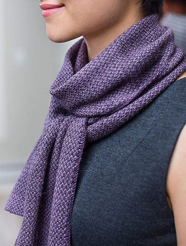 Knitting Pattern For Two Tone Twill Scarf Linen Stitch Scarf