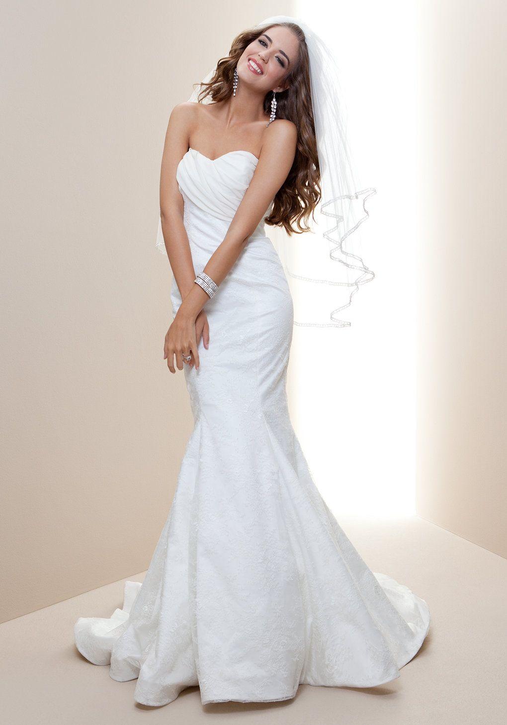 bebe   Drape Top Lace Mermaid Bridal Gown - Rami Kashou - Bridal ...