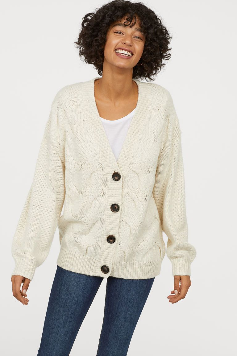 7bf19213b2 Cable-knit Cardigan - Natural white - Ladies