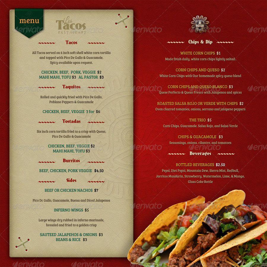 Mexican Menu Card Psd Menu Design Template Menu Design