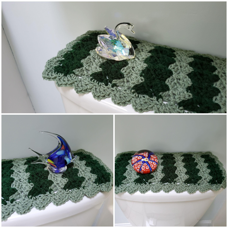 Toilet Tank Topper Crochet Toilet Tank Topper Bathroom Decor Light Sage Hunter Green Ttt2d New Toilet Crafts To Make Sell Toilet Paper Roll Crafts