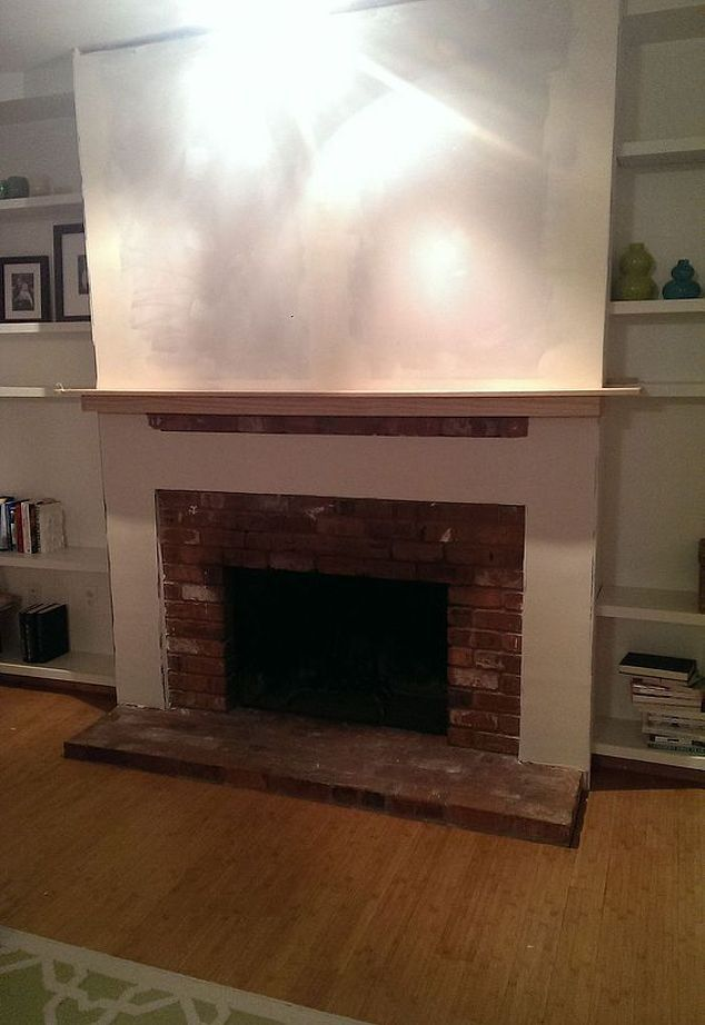 DIY Brick Fireplace Refacing | Fireplace Refacing, Brick Fireplace And  Bricks