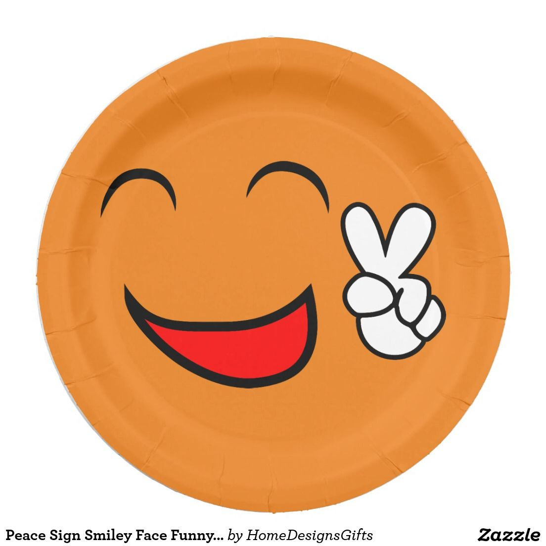 Peace Sign Smiley Face Funny Emoticon Orange Party Paper Plate  sc 1 st  Pinterest & Peace Sign Smiley Face Funny Emoticon Orange Party Paper Plate ...