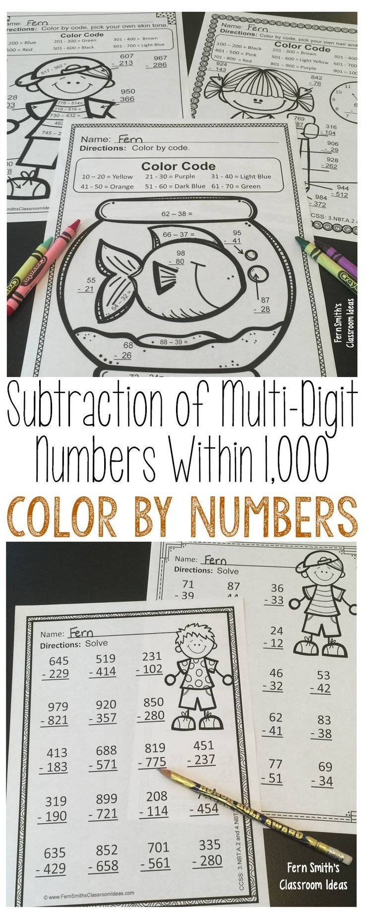 Color Your Answers Printables For The Subtraction Of Multi Digit Whole Numbers Within 1 000 Five Teachers Pay Teachers Math Fern Smith S Classroom Ideas Math [ 1840 x 736 Pixel ]