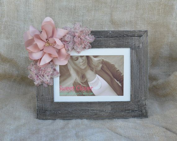 Pink Shabby Chic Picture Frame - Distressed Picture Frame - Flower ...
