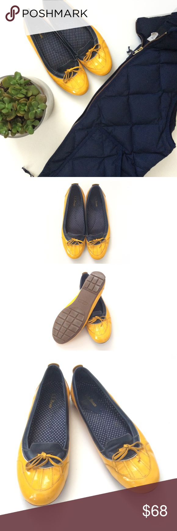 🆕{Listing} L.L.Bean Short Yellow Duckboots Make a splash with these bright yellow duckboots. Cute Navy blue and white polka dots inside. Perfect for Spring rainy days. In good condition. Some wear on inside, and minor scuffs on outside. L.L. Bean Shoes Winter & Rain Boots