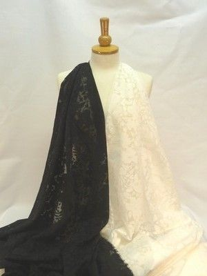 Black or cream sheer cotton lawn with a soft drape effect.