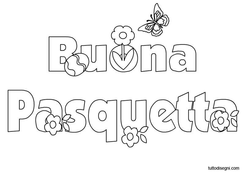 Buona Pasquetta Scritta Da Colorare Tuttodisegni Com Pasqua