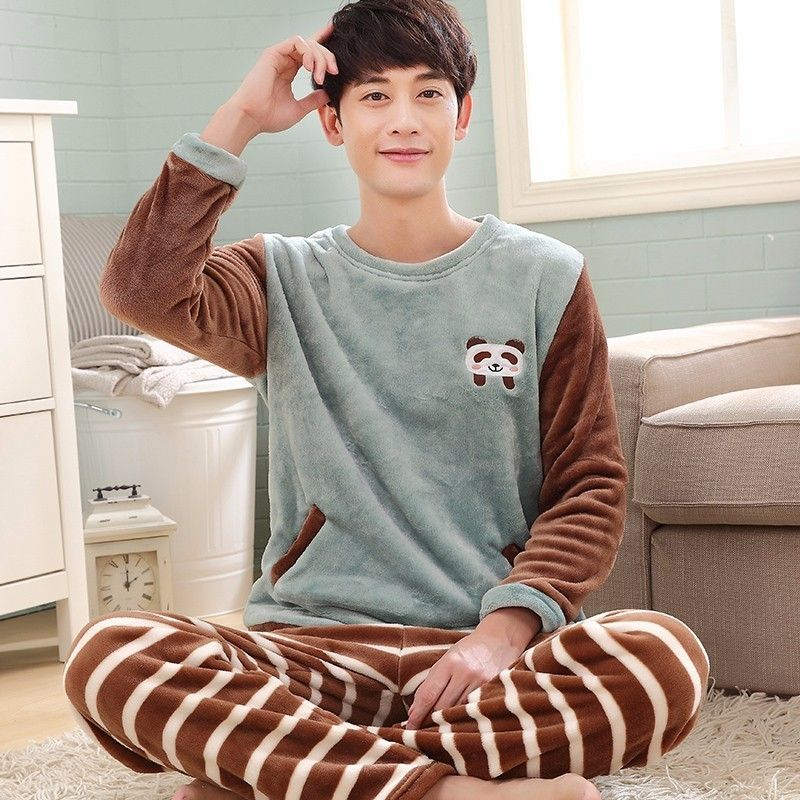 11a54a7f516a Click to Buy    New Winter Pajama Sets For men Thick Warm Flannel ...