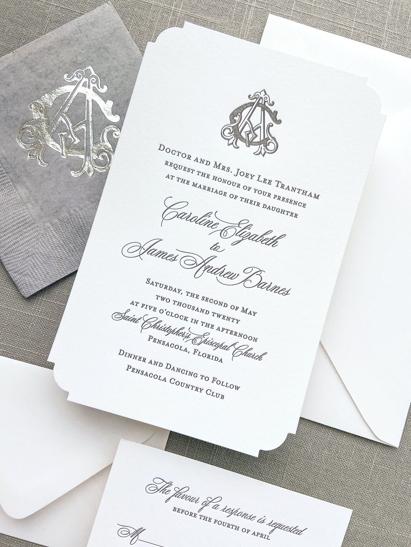 Formal Gray Wedding Invitation With Interlocking Monogram In 2020 Custom Wedding Stationery Printing Wedding Invitations Wedding Stationery Design