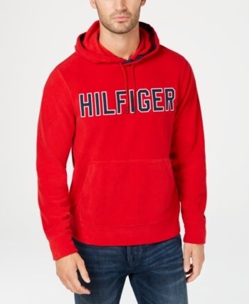 Red Tommy Hilfiger Mens Logo Pullover Hoodie