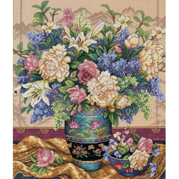 DIMENSIONS-The Gold Collection: Counted Cross Stitch. The Gold Collection Kits are wonderfully detailed with full and half cross stitches. Kit includes: 18 count beige Aida, cotton thread, metallic thread, thread sorter, needle, and easy instructions. Mats and frames are not included unless otherwise stated. Finished size: 14H x 12W. Design: Oriental Splendor. Designer: Lena Liu. Imported.