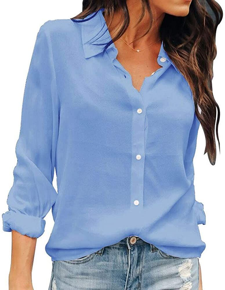 OMSJ Women Button Down Shirts Long Sleeve Chiffon Office Casual Blouses (S,  Light … | Women's button down shirt, Casual dresses with sleeves, Blue long  sleeve shirt
