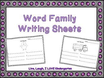 Great for reviewing word family words.  This pack includes 7 word family writing sheets. -uck -ick -un -ip -ake -ing -ain  Live, Laugh, I love Kindergarten