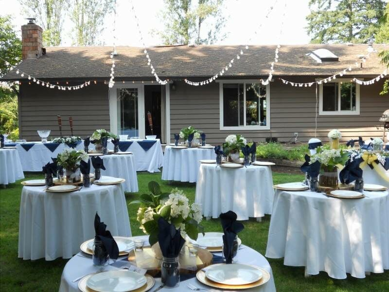 Back Yard Wedding Setup For A Small Ceremony Wedding Backyard Reception Small Backyard Wedding Yard Wedding
