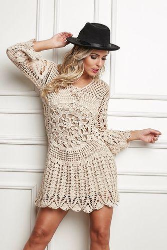 3c4d06006a15 Vestido Bege Anne com passo a passo e gráfico | croche | Vestidos de ...