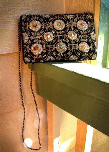Vintage Gold Beaded Embellished Black Velvet Autumn Evening Clutch by ZoeDuJour on Etsy, $15.00