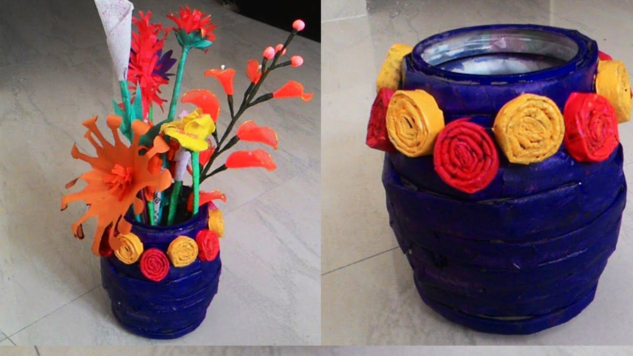 How To Make Newspaper Flower Vase Newspaper Crafts Papel De