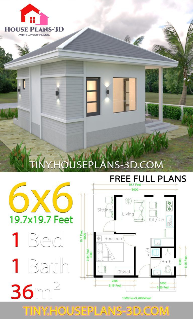 Small House Plans 6x6 With One Bedroom Hip Roof Tiny House Plans One Bedroom House Plans One Bedroom House Small House Plans
