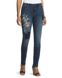 So Slimming Floral Patchwork Girlfriend Jeans