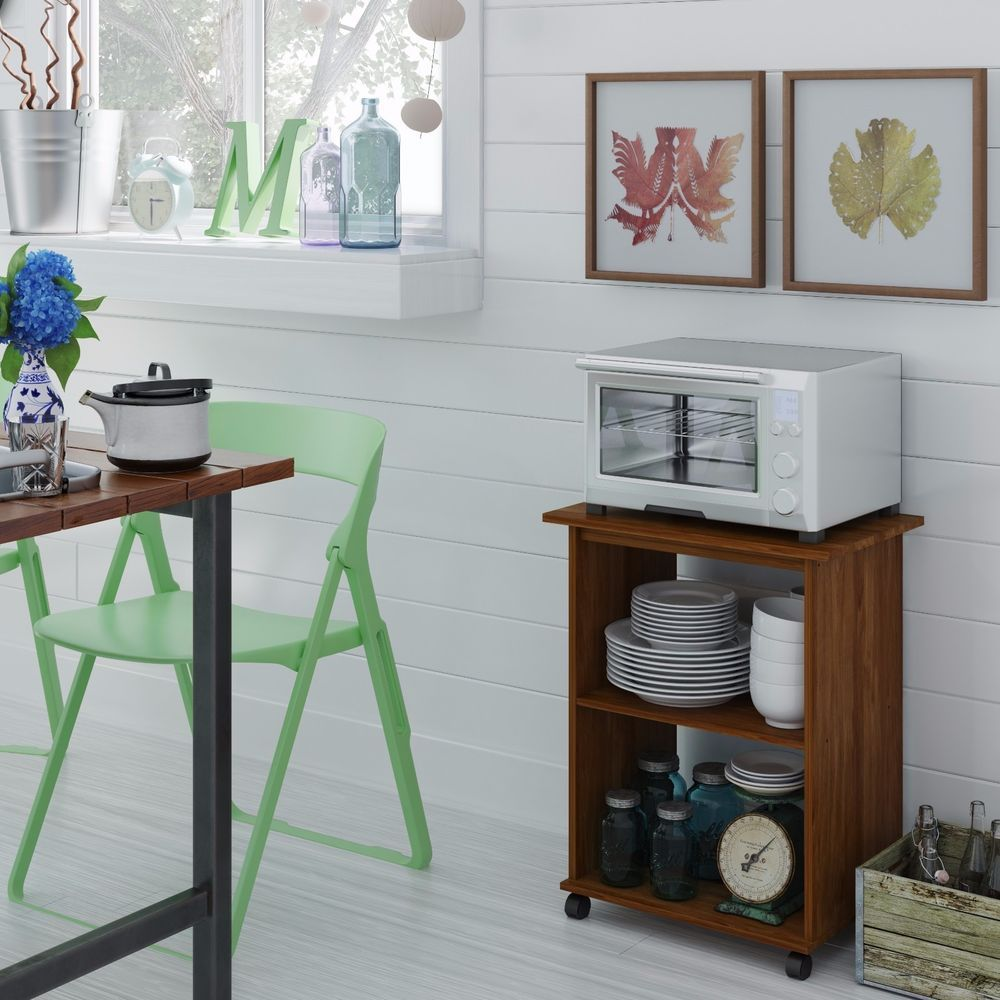 Kitchen Utility Cart Microwave Stand Storage Shelf Rolling Wood Furniture Home Ameriwood