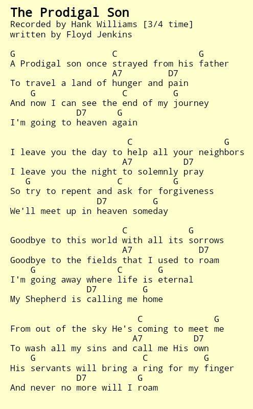 The Prodigal Son. Hank Williams Sr. Country Gospel chords | Guitar ...