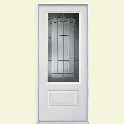 36 In X 80 In Croxley Three Quarter Rectangle Left Hand Primed Smooth Fiberglass Prehung Front Door With No B Fiberglass Door Fiberglass Entry Doors Masonite