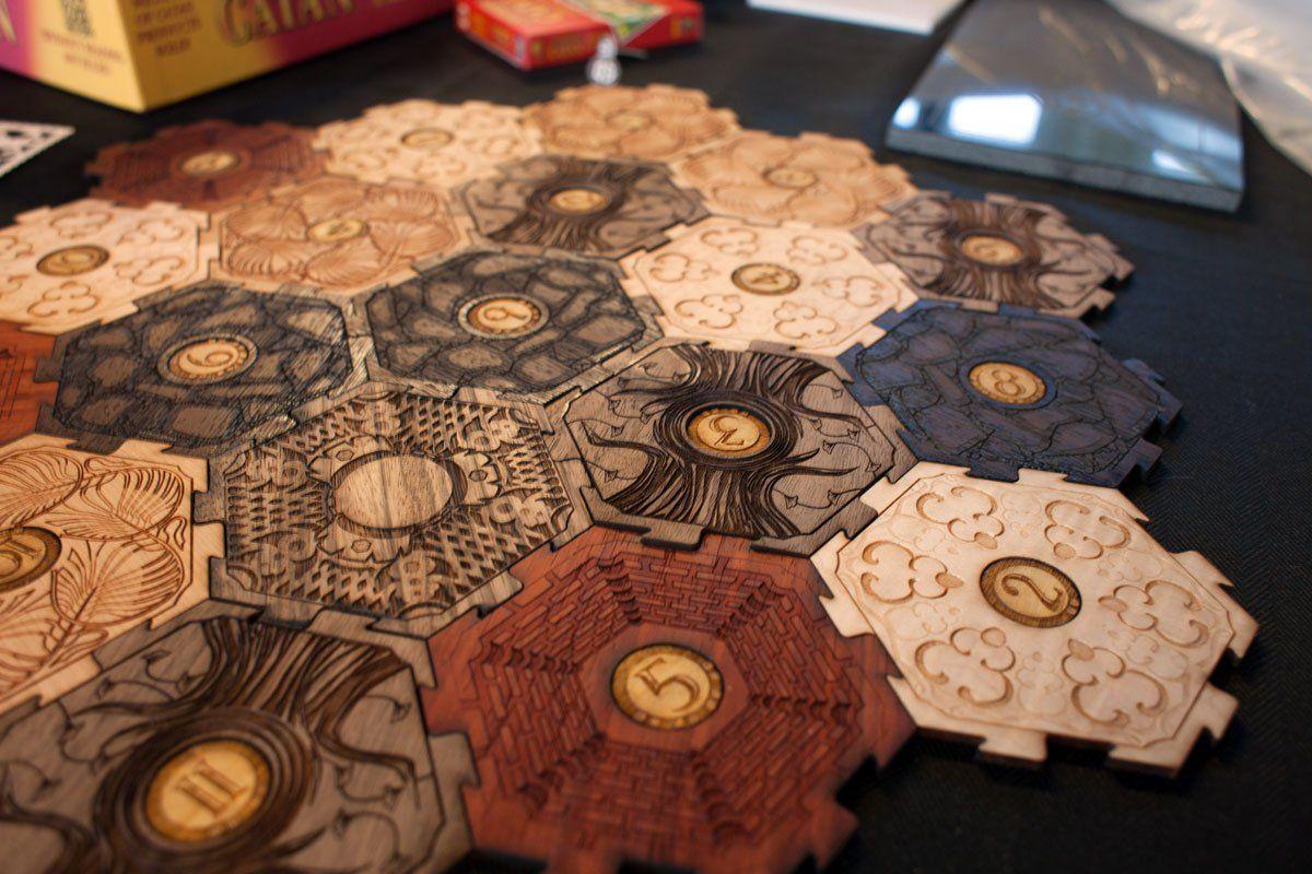 Glowforge Settlers of Catan tiles | Lasermade Ideas ...