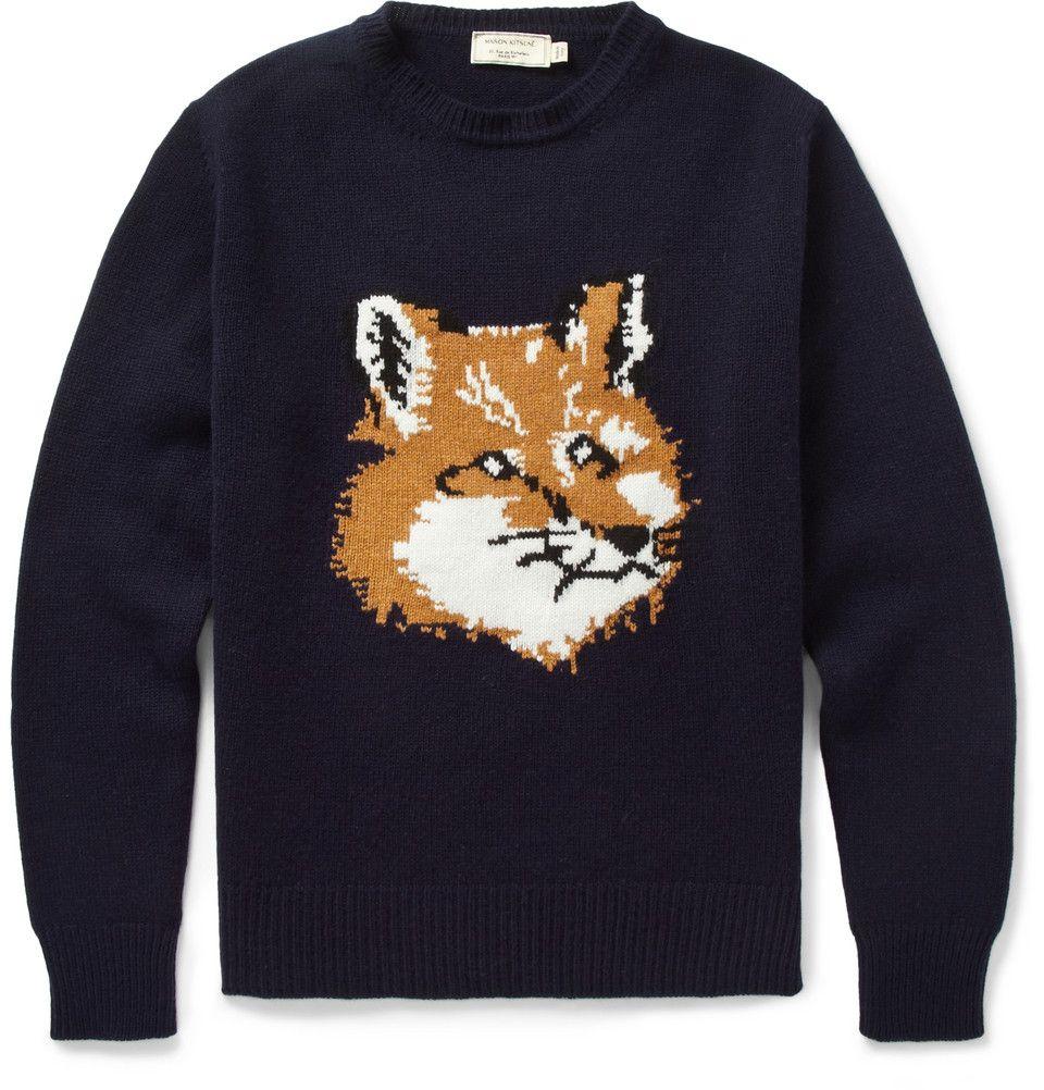 Maison Kitsune Fox Knitted Wool Sweater Mr Porter [ 1002 x 960 Pixel ]