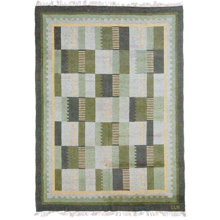Large Swedish Scandinavian Mid Century Modern Rollakan Flat Weave Rug In Neutral Greens Yellows And Gray Designe Woven Rug Flat Weave Rug Scandinavian Rug