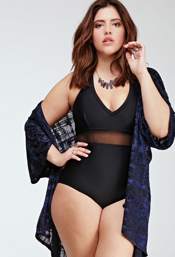 cbe9286be140d Plus Size FOREVER 21+ Mesh-Paneled Swimsuit