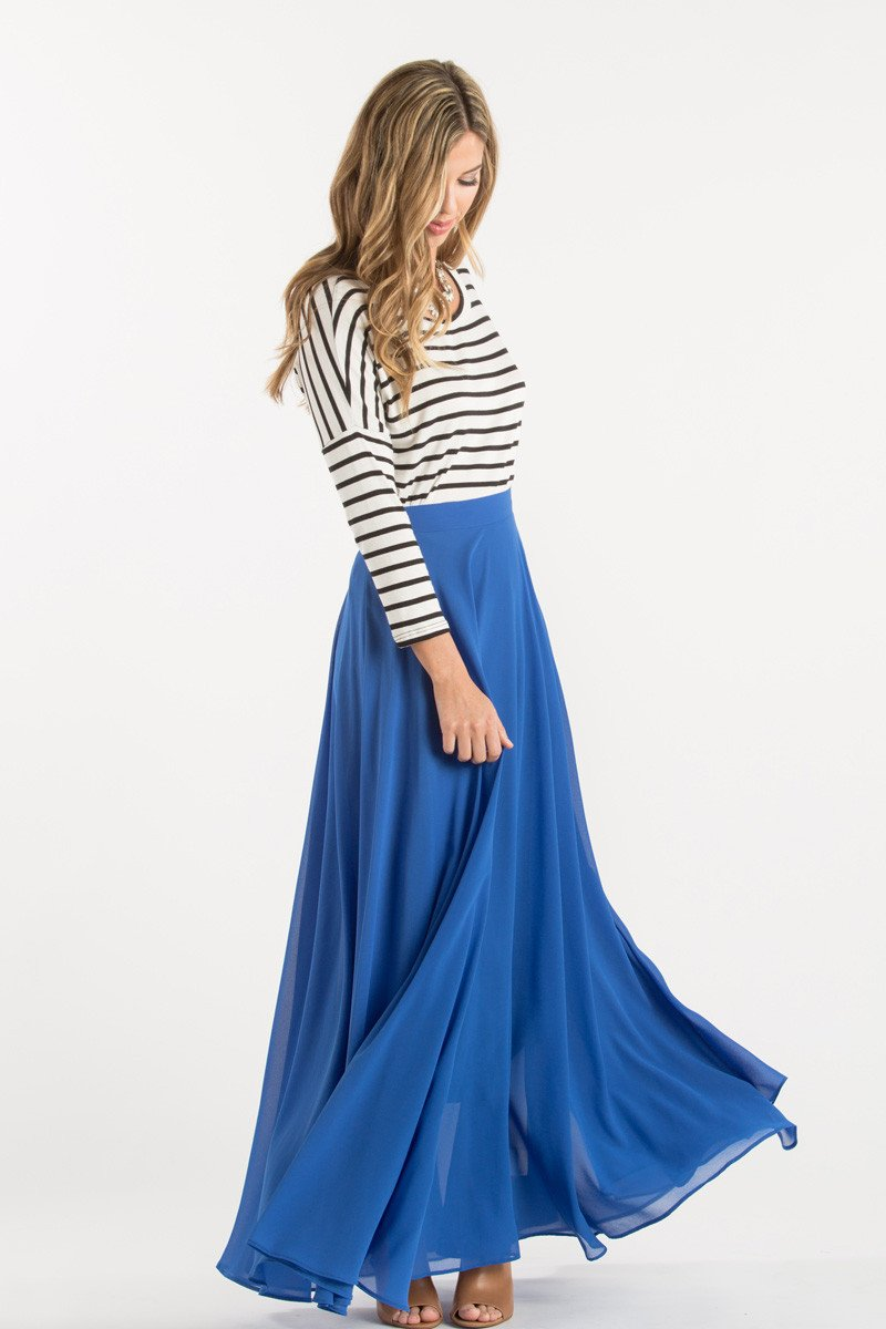 Amelia full blue maxi skirt fallwinter clothing pinterest
