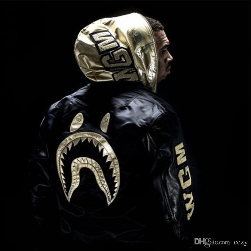 5f7720eabd7ee 2017 Brand New Shark WGM Brand Clothing Limited Black Golden Jacket Men  Women Shark Mouth Chris Brown Justin Bieber Kanye West High Quality Shark  Jacket ...