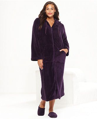 d221cbb67b83a Charter Club Plus Size Supersoft Long Hooded Zip Up Robe - Plus Size  Pajamas   Robes - Plus Sizes - Macy s
