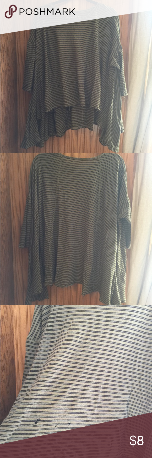 Free people high low distressed 3/4 sleeve top GUC due to distressing / piling has holes and not sure if the holes are meant to be there see photos pls Free People Tops