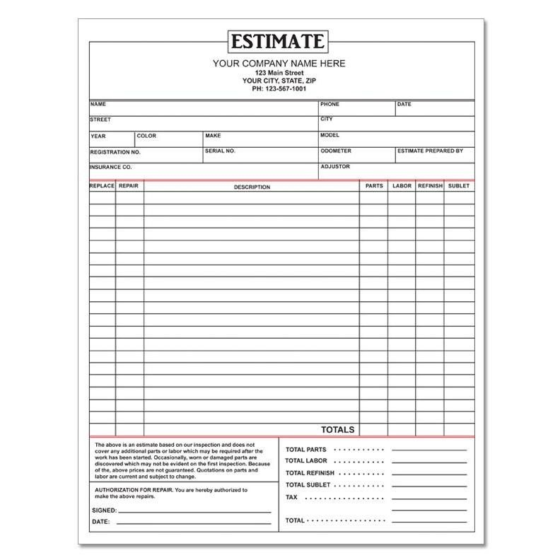 28 Repair Estimate Form Template Free In 2020 Auto Repair