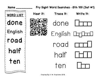 QR Code Fry Sight Word Searches and Writing Practice 5th 100