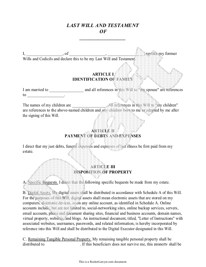 wills and testaments templates - sample legal will form template for what it 39 s worth