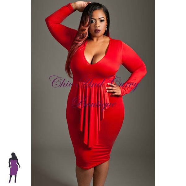 New Plus Size Bodycon Long Sleeve Dress with Ruffled Cascading ...