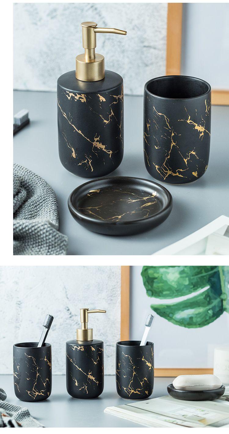 Marble Imitation Bathroom Accessory Set Soap Dispenser Black And Gold Marble Bathroom Accessories Luxury