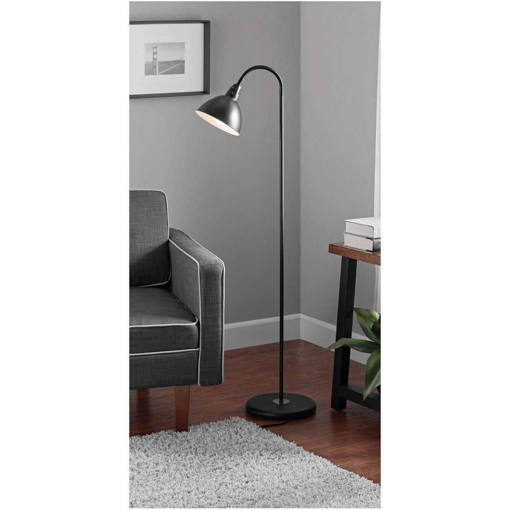 Mainstays Black Gooseneck Floor Lamp Reading Living Room Portable Office 842596100029 Ebay