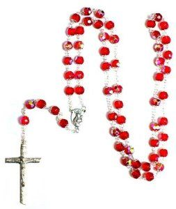 Silver Plated RED Double Cap Beads Rosary & Large Jesus Cross Crucifix New in Box