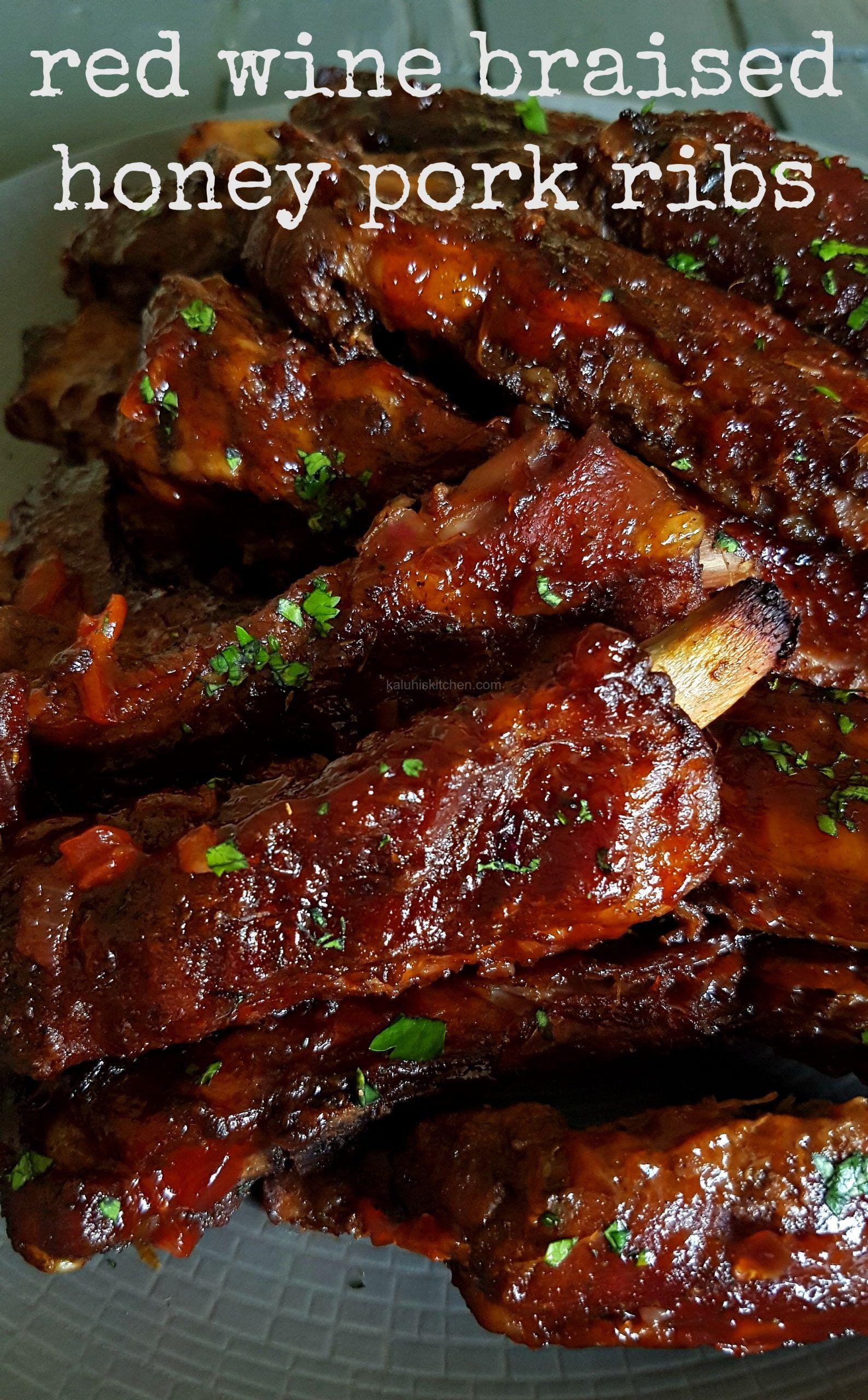 Red Wine Braised Honey Pork Ribs Braised Pork Ribs Pork Ribs Pork Rib Recipes