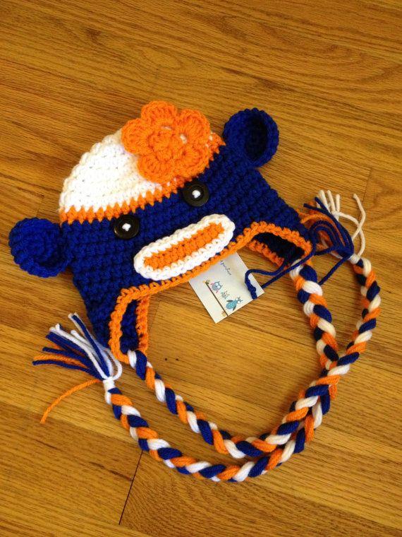 Crochet Baby Newborn Chicago Bears Boy Girl Sock Monkey Hat with ...