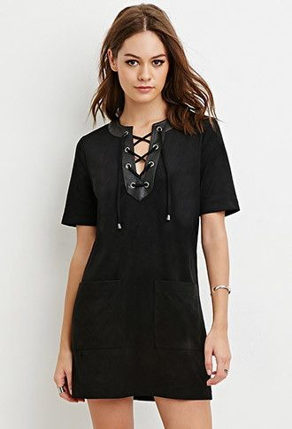 Faux Suede Lace-Up Shift Dress | Forever 21 - 2000146522