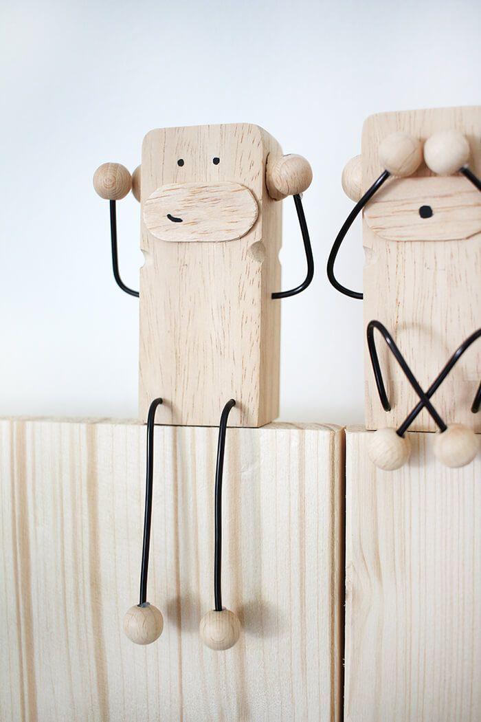 Do it yourself: Drei Affen als Deko und Geschenkidee aus Holz ...